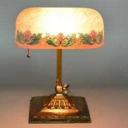 Emeralite Reverse Painted Acid Etched 8734 Shade Desk Lamp