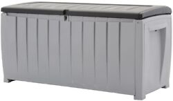 90 Gal. Black and Gray Outdoor Furniture Patio Deck Storage Box Container
