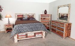 Multi Color Queen Rustic Bedroom Set Shabby Chic Lodge Cabin Modern Worn Scrappe