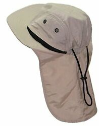4 Panel Quick Dry Out Moisture Large Bill Flap Hat Sun Cap Stone  Natural