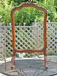 Mid 1800s French Fireplace Screen Walnut Wood Intricate Hand Carving Fire Place