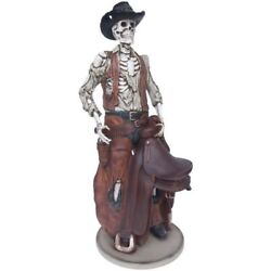 Skeleton Cowboy Statue Life Size Western Display Prop Decor