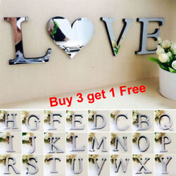 26 Letters DIY 3D Mirror Acrylic Wall Sticker Decals Home Decor Wall Art Mural Y $4.03