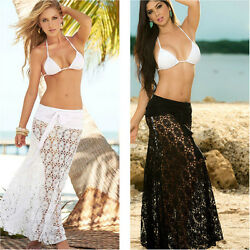 US Sexy Women Hollow Out lace Crochet see through Beach Cover Up Skirt Swimwear $11.99