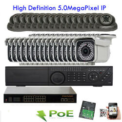 32Ch H.265 NVR 5MP 2592x1920P Outdoor PoE IP ONVIF IP66 Security Camera System