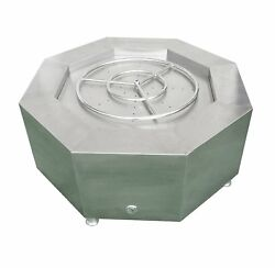 """Ymax 42"""" Octagon Gas Fire Pit Table with 24"""" Round Burner Ring 304 Stainless St"""