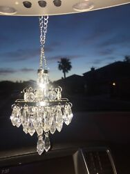New Chandelier for Car Rear View Mirror Sparkly Clear Crystal Color Beads Silver $24.00
