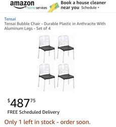 Tensai Bubble Chair - Durable Plastic in Clear Black With Aluminum Legs Set of 4