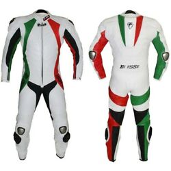 New Motorbike One Piece Motorcycle Genuine Cowhide Leather Racing Suit CE Armou