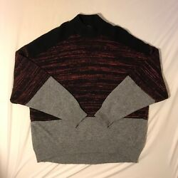ALEXANDER WANG men's SMALL wool Cashmere blend turtleneck Sweater Black Red Gray