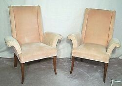 PAIR OF MID CENTURY MODERN REGENCY SCROLLED ARM WING BACK CHAIRS