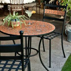 Cafe Bistro Set Outdoor Mosaic Table Metal Patio Chairs Wrought Iron Tables Sets