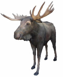 Moose Standing w Antlers Life Size Resin Statue Wild Animal Lodge Display Decor