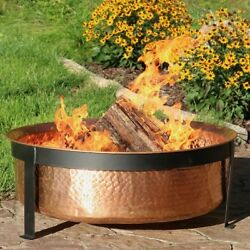 Wood Burning Fire Pit with Spark Screen 30 Diameter Copper Outdoor Warm Cozy