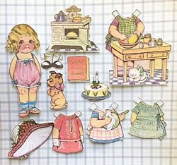 Holiday Baking Day Retro Vintage Paper Doll Handmade Fabric Die Cuts $15.00