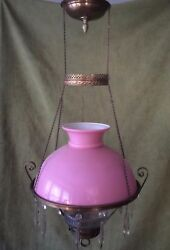 ANTIQUE VICTORIAN HANGING OIL KEROSENE LAMP w PINK quot;CASEDquot; SHADE amp; GLASS FONT $161.99