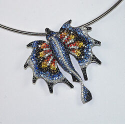 18K BLACK WHITE DIAMONDS BLUE ORANGE YELLOW SAPPHIRE ANGEL FISH PENDANT BROOCH