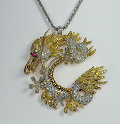 18K COUTURE 3.87c FANCY YELLOW WHITE DIAMOND FANTASY ASIAN DRAGON PENDANT