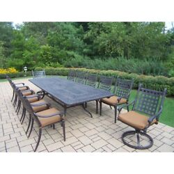 Oakland Living Belmont 13 Piece Extendable Patio Dining Set with Stackable and