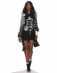 $7000 Spring 2015 Zang Toi New York Runway Black pearl cashmere sweater dress S