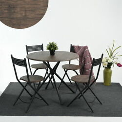 5PCS Retro Garden Chair and Table Woodden & Metal Set Dining Outdoor Patio