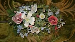 PORCELAIN FRENCH ANTIQUE FLORAL FLOWERS WEDDING BOUQUET MAGNIFICENT WALL DISPLAY $385.00