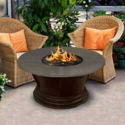 American Fire Products San Simeon Chat Height Round Metal Top Gas Fire Pit