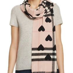 BURBERRY WOMENS REVERSIBLE HEART PRINT GIANT CHECK CASHMERE SCARF