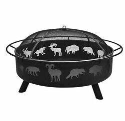 Landmann USA Super Sky 43-in W Black Steel Wood-Burning Fire Pit Home Outdoor