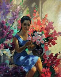 WOMAN IN THE LIGHT OF FLOWERS OIL ON CANVAS. BATALLA (PERE?). SPAIN CIRCA 1920