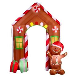 Outdoor Inflatable Holiday Decoration 9ft Inflatable Gingerbread House Archway