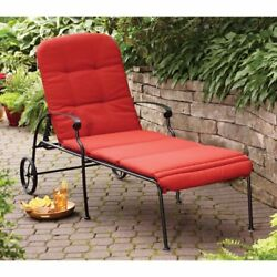 Chaise Lounge Chair Outdoor Deck Cushion Yard Furniture Patio Pool Relaxer Red