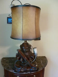 Nightwatch Lamp Co. NY Lodge Cabin Decor Lamp Wagon wheel hub Flintlock replica