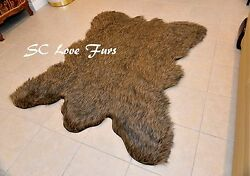 2' x 4' Rectangle Rugs Grizzly Cali Bearskin Fur Area Rug Christmas Winter Decor