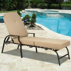 Outdoor Chaise Lounge Chair Reclining Cushioned Portable Bed for Pool Patio NEW