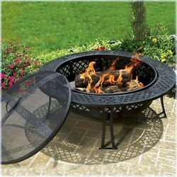 Outdoor Fire Pit Steel Wood Burning Portable Warming Backyard Patio Screen Cover