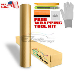 *5D Premium High Gloss Gold Carbon Fiber Vinyl Wrap Bubble Free Air Release