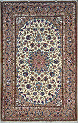 Fine Isfahan Persian Rug by Master 5x7 Slimi design Silk BASE