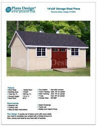 Outdoor Storage Shed Plans 14' x 24' Reverse Gable Roof Style Design # D1424G