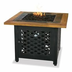 Black Aluminum 32.1-in W 30000-BTU Electric Ignition Propane Gas Fire Pit Table