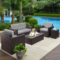 Crosley Furniture Palm Harbor All Weather Wicker Outdoor 5 Piece Conversation