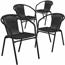 Cheap Patio Chairs Indoor Outdoor Rattan Seat Furniture Set Of 4 Stackable Black