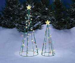 Set of 2 Multi Lights String Christmas Tree Sculptures Outdoor Holiday Yard Art