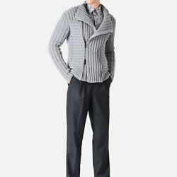 NEW EMPORIO ARMANI MENS FULLY FASHIONED WOOL AND CASHMERE BLOUSON JACKET WITH...