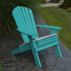 A & L Furniture Folding Recycled Plastic Adirondack Chair with 2 Cup Holders