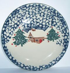 CABIN IN THE SNOW Christmas REPLACEMENT DINNER PLATE Tienshan Folk Craft Blue