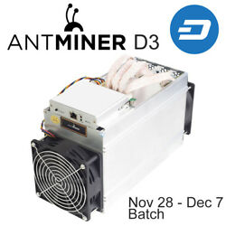 Original AntMiner D3 15GHs X11 ASIC Dash Miner with power supply and warranty
