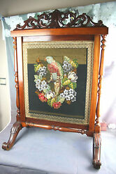 Exclusive XL gorgeous French 'antique' petit point Fireplace screen wood bird