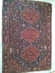 Vintage Authentic Hand Made Persian Carpet Wool 294 cm x 206 cm 70 years old