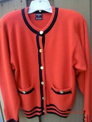 Auth CHANEL Red & Black & cashmere Cardigan Sweater Sz